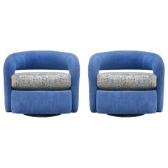 Matching Pair of Mid Century Post Modern Swivel Lounge Chairs or Club Chairs