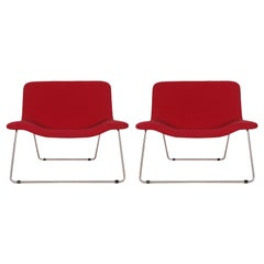 Matching Pair of Midcentury Italian Postmodern Red Lounge Chairs by Cappellini