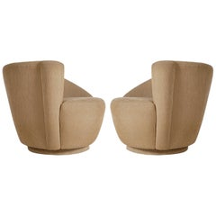 Matching Pair of Nautilus Swivel Lounge Chairs by Vladimir Kagan for Preview