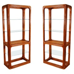 Matching Pair of Rattan and Glass Étagères or Wall Units