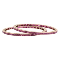 Matching Pair of Ruby and Gold Bangle Bracelets