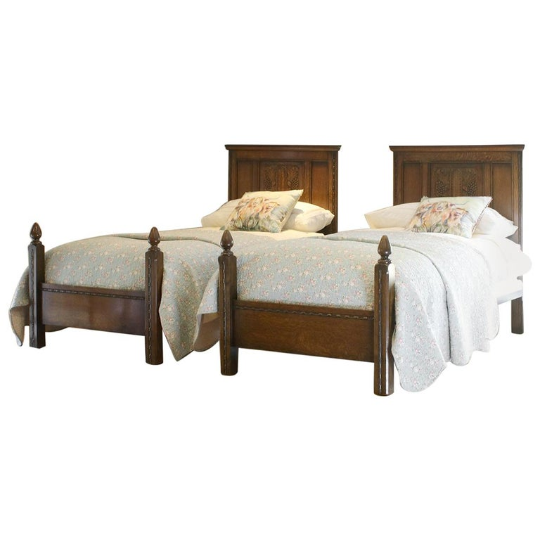 Matching Pair of Single Oak Beds WP28 For Sale