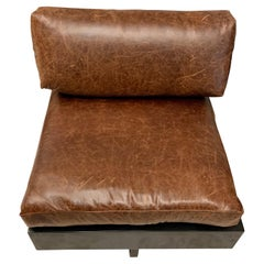 Matching Pair of Tech Incorporated T Back Black Chairs with Brown Leather