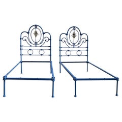 Matching Pair of Twin Antique Brass and Iron Beds MPS38