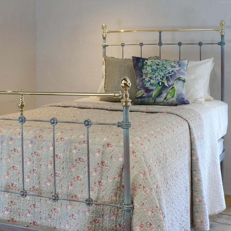Victorian Matching Pair of Twin Blue Verdigris Antique Beds MPS41