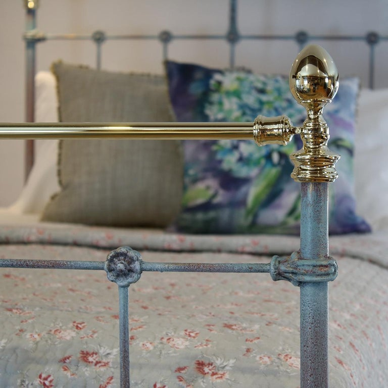 English Matching Pair of Twin Blue Verdigris Antique Beds MPS41