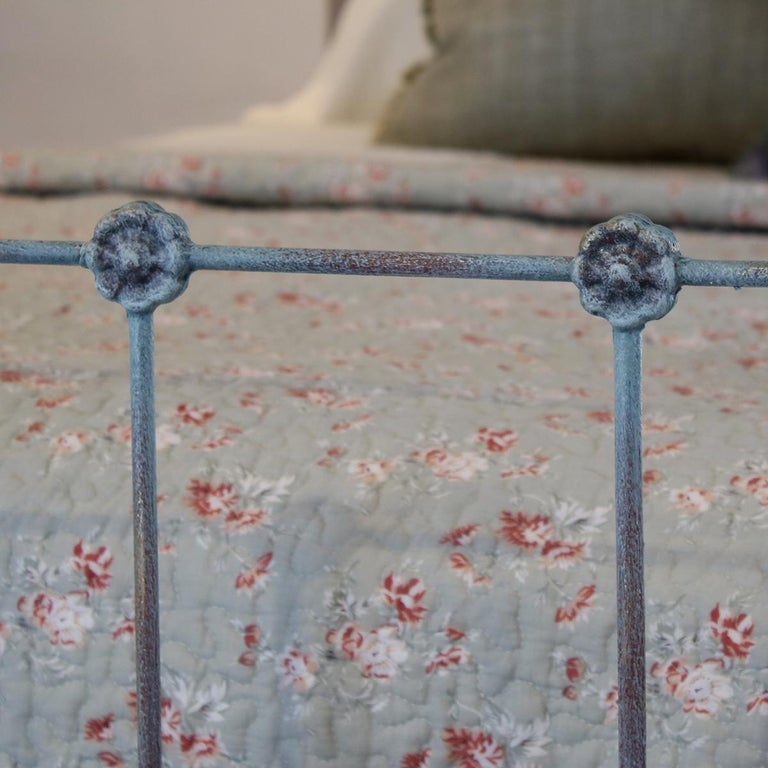 Matching Pair of Twin Blue Verdigris Antique Beds MPS41 In Good Condition In Wrexham, GB