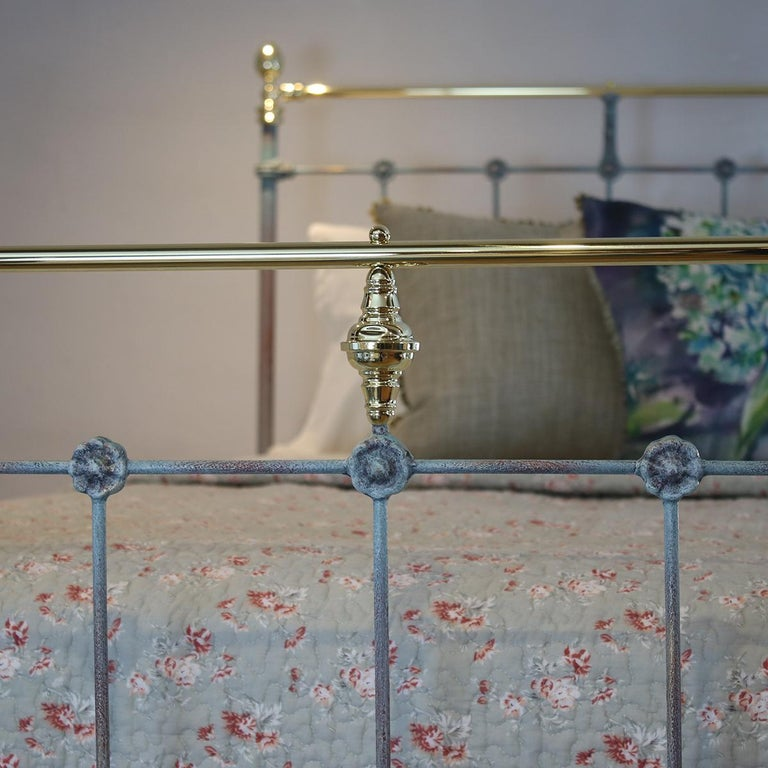 19th Century Matching Pair of Twin Blue Verdigris Antique Beds MPS41
