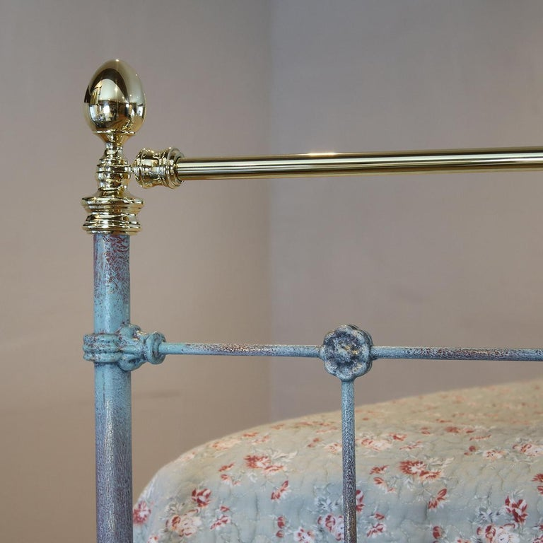 Brass Matching Pair of Twin Blue Verdigris Antique Beds MPS41