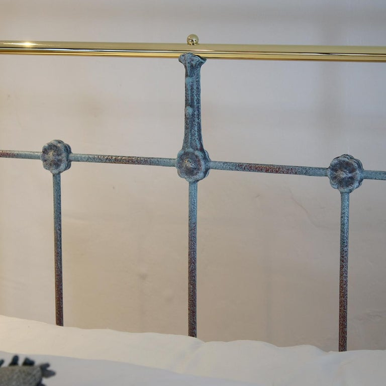Matching Pair of Twin Blue Verdigris Antique Beds MPS41 2