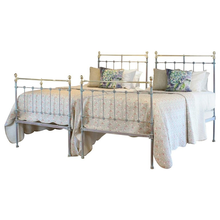 Matching Pair of Twin Blue Verdigris Antique Beds MPS41