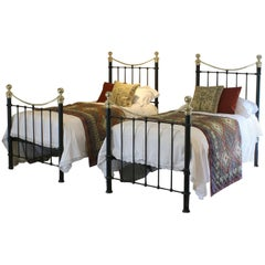 Matching Pair of Twin Brass and Iron Beds MPS26