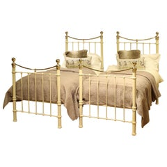 Matching Pair of Twin Brass and Iron Beds MPS33