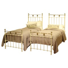Matching Pair of Twin Brass and Iron Beds MPS34