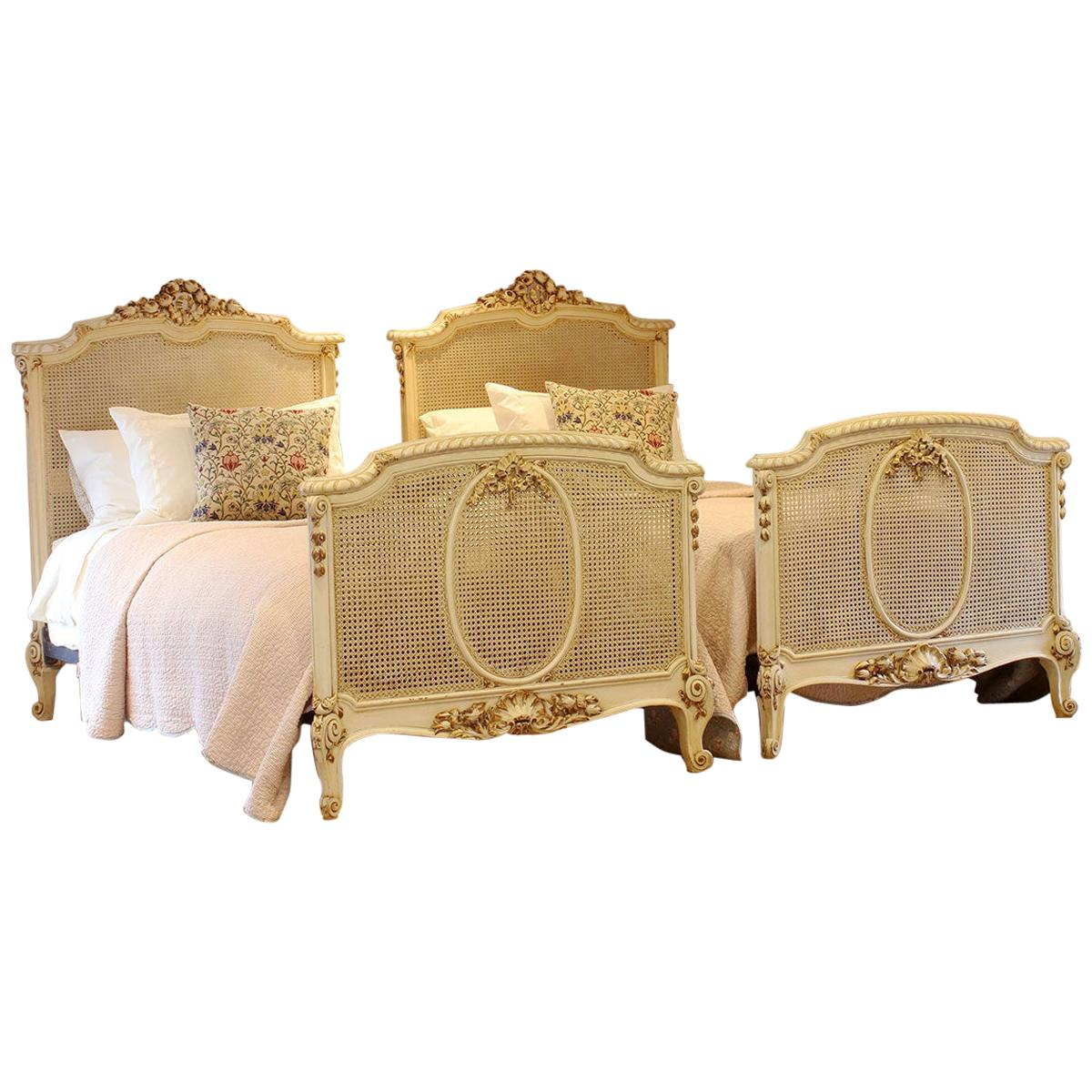 Matching Pair of Twin Louis XVI Style Antique Beds, WP31