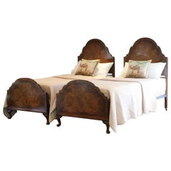 Matching Pair of Twin Single Walnut Antique Beds WP34