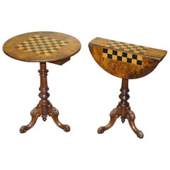 Matching Pair of Victorian Burl & Burr Walnut Chessboard Tripod Base Side Tables