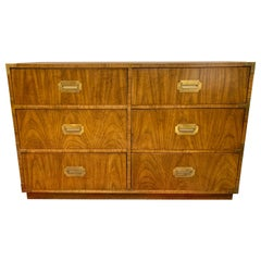 Matching Pair of Vintage Campaign Style Dressers Chest of Drawers by Dixie
