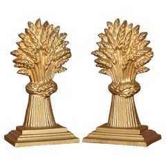 Matching Pair of Vintage circa 1930's Brass Wheat Sheaves Door Stops