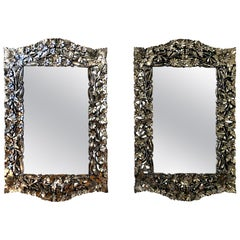 Matching Pair of Vintage Italian Venetian Style Mirror with Layered Flowers