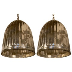 Matching Pair of Vintage Mercury Glass Fluted Industrial Style Pendant Lights