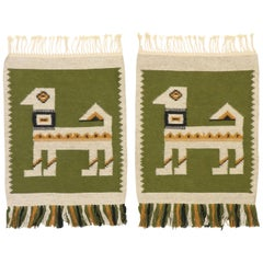 Matching Pair of Vintage Russian Kilim Rugs with Folk Art Style