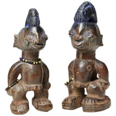 "Matching Pair of Yoruba Twin Figures Ibeji 8"" High Nigeria African Tribal Art"