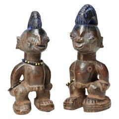 Matching Pair of Yoruba Twin Figures Ibeji Nigeria African Tribal Art