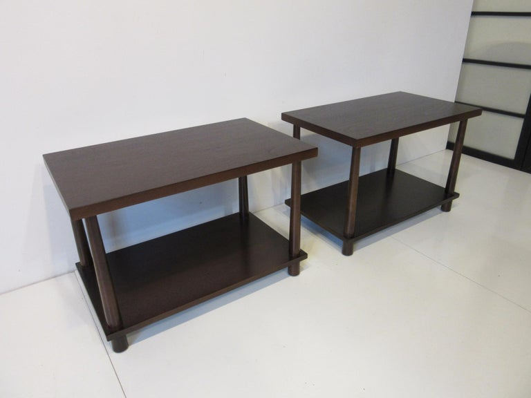 Wood Matching Pair Side Tables / Nightstands by T.H. RobsJohn Gibbings for Widdicomb  For Sale