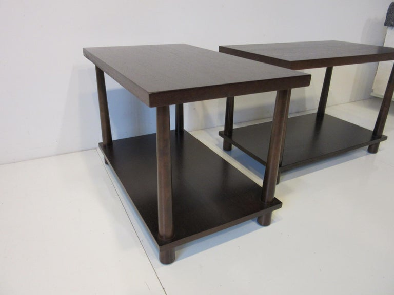 Matching Pair Side Tables / Nightstands by T.H. RobsJohn Gibbings for Widdicomb  For Sale 2