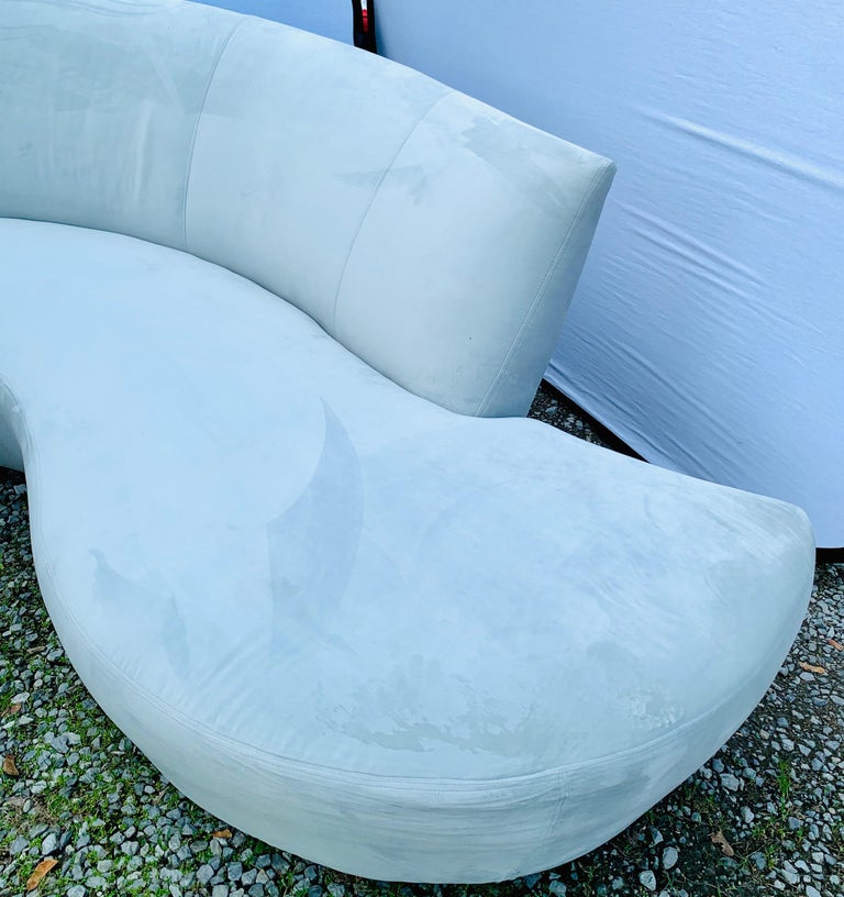 American Matching Vladimir Kagan Bilbao Serpentine Curved Sofas with New Upholstery, Pair For Sale