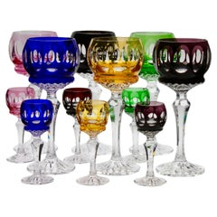 Matching Set of 12 Stem Glasses with Colored Overlay and Cut to Clear