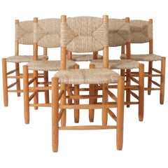 Matching Set of 6 Charlotte Perriand Model No 19 Bauche Chairs