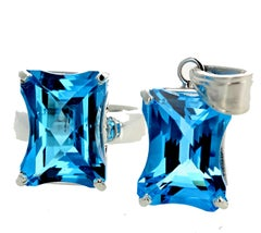 Matching Set of Blue Topaz Ring and Pendant Set in Sterling Silver
