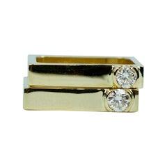 Matching Trisko 14k Yellow Gold Round White Diamond Stackable Bands Ring