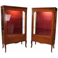 Matching Vintage French Louis XV Style Lighted Vitrine Curio Cabinets