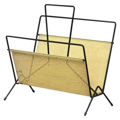 Mategot Style Yellow Perforated Metal Magazine Rack