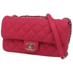 matelasse  chain shoulder\  Womens  shoulder bag  pink x silver hardware Leather