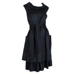 Black Matelassé *Larger Size* Cowl Neck Pocket Dress w Lampshade Skirt- L, 1950s