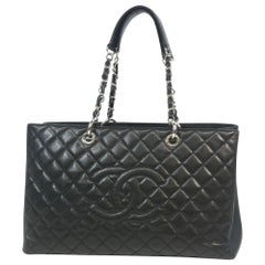 matelasse GST chain tote bag  Womens  tote bag  black x silver hardware Leather