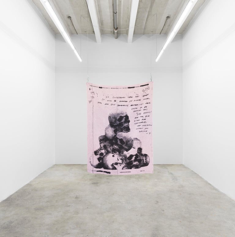 Tony Matelli's three-throw blankets for the Normann X Brask Art collection express the feelings of an artist in distress. The woolen throws are woven enlargements of personal fax messages sent to some of his art dealers in 2003 and made into a