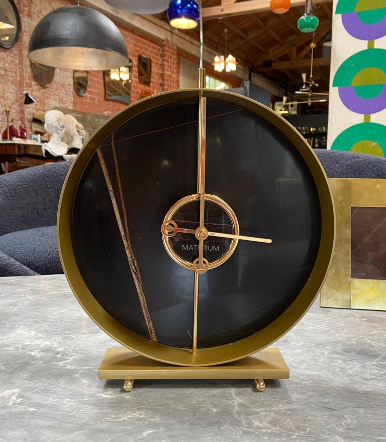 Italian Materico Table Modern Clock 2019 with Sara Noir Marble and Finishes in 24k Gold For Sale