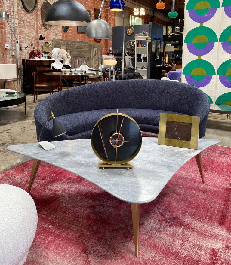Materico Table Modern Clock 2019 with Sara Noir Marble and Finishes in 24k Gold For Sale 1