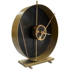 Materico Table Modern Clock 2019 with Sara Noir Marble and Finishes in 24k Gold