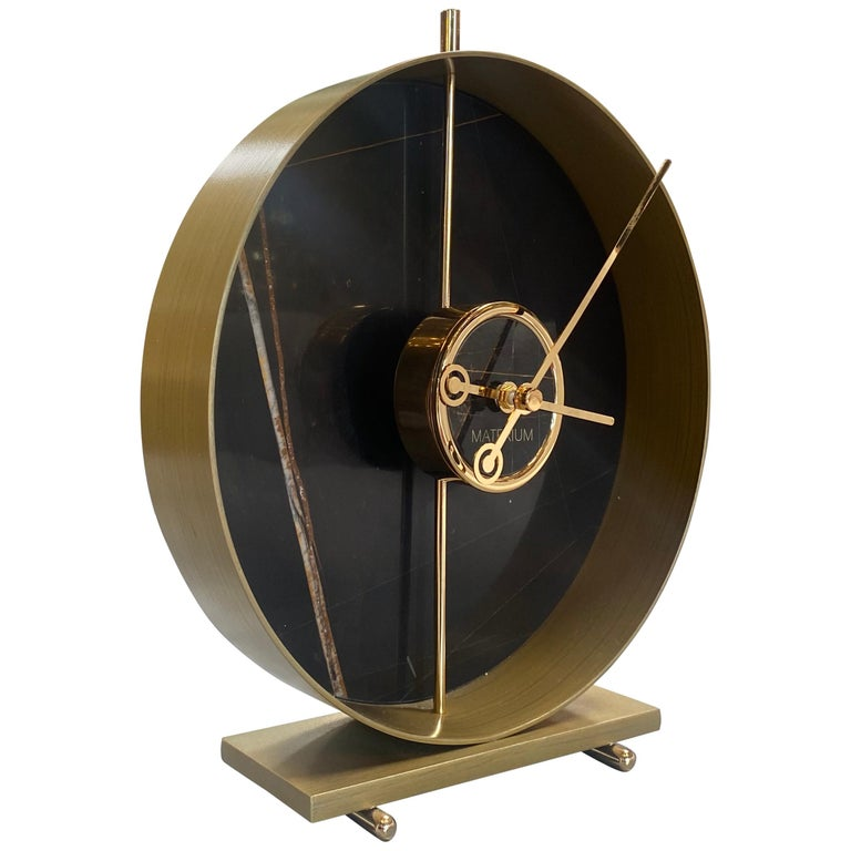 Materico Table Modern Clock 2019 with Sara Noir Marble and Finishes in 24k Gold For Sale