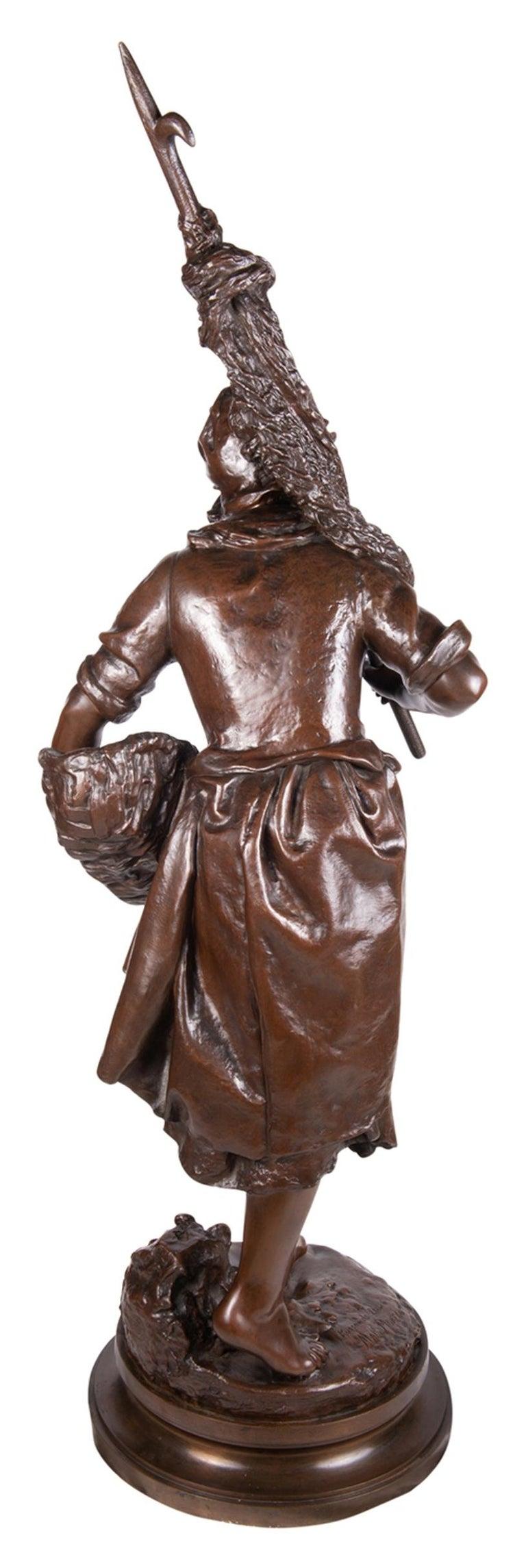 Romantic Math. Moreau Bronze Fisher Girl, 19th Century For Sale