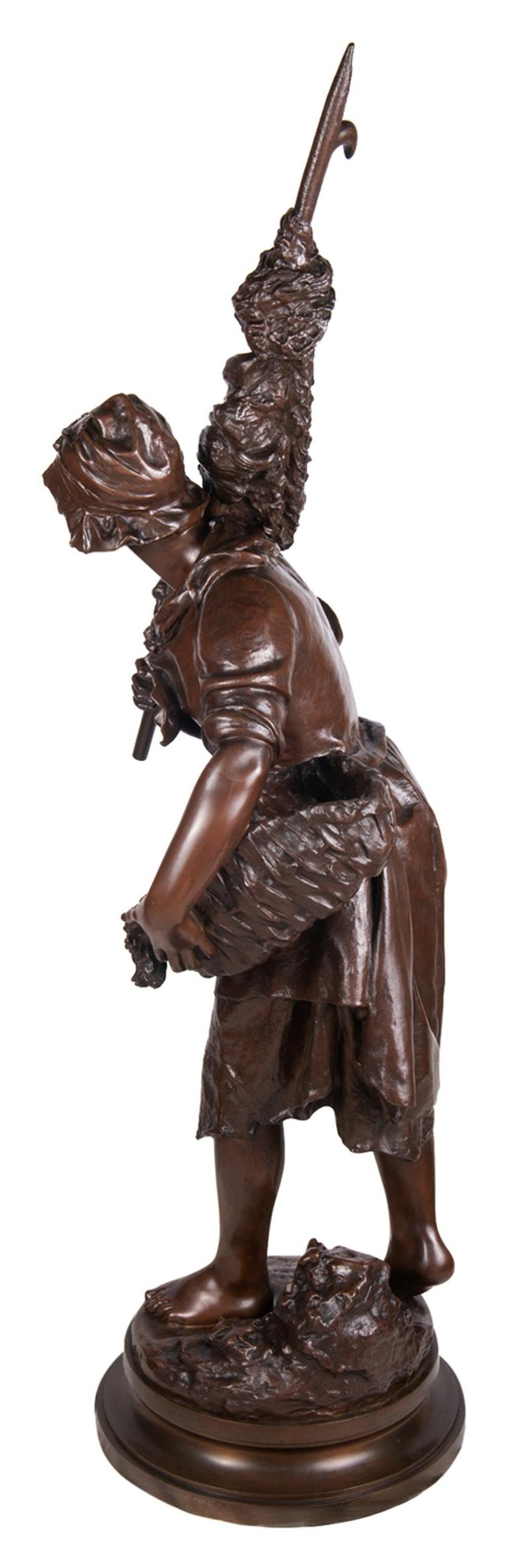 French Math. Moreau Bronze Fisher Girl, 19th Century For Sale