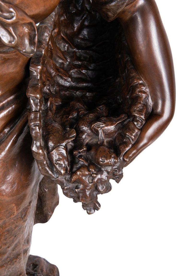 Math. Moreau Bronze Fisher Girl, 19th Century For Sale 2