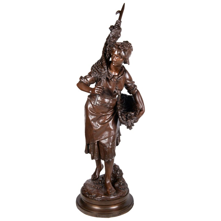Math. Moreau Bronze Fisher Girl, 19th Century For Sale