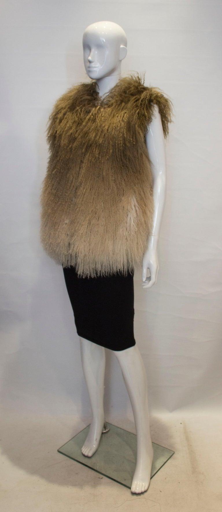 Brown Mathew Williamson Mongolian Lamb Fur Gilet For Sale